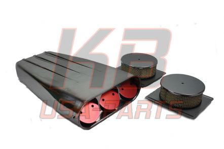 air scoop luchtfilter voor dubbele 4bbl carburateurs gepolijst alluminium.